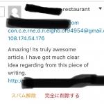 褒めまくるスパムコメント